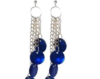 Blue Chandelier Drop Earrings.