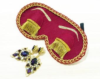 Burgundy with Gold Holly Golightly Sleep Mask with Eyelashes, Handmade Audrey Hepburn Night Mask, Breakfast at Tiffany's Eye Mask