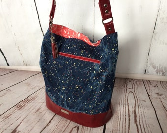 Gorgeous handmade denim bucket bag