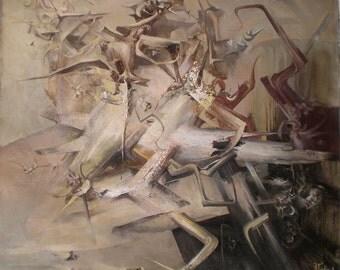 Original Abstract Painting, Large Wall Art, Beige, Gray, Oil Painting, Canvas Painting, Abstract Painting, Canvas Art, 61 x 56 cm Painting