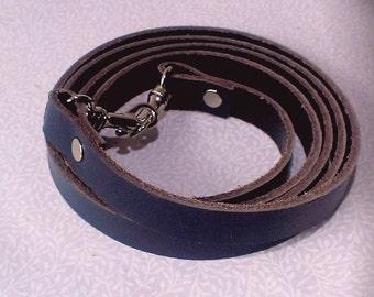 Navy blue leather cross body bag strap, handbag strap, bag strap, leather strap.