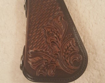 Hand tooled leather pistol caddy (small)  (made to order)