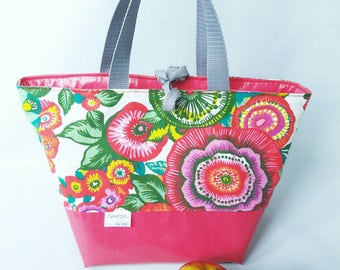 Lunch bag, insulated, waterproof, very spacious, large bag, flower, multicolor, pink, glitter, lunch bag, lunch time, insulated bag,