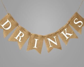 Drinks Give thanks burlap bunting banner, burlap banner, happy fall,  happy thanksgiving, marry Christmas,autumn bunting