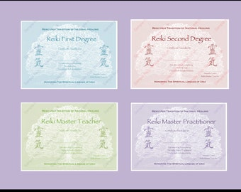 Reiki master etsy download complete set reiki certificate templates x4 landscape level 1 level 2 yadclub Image collections