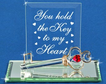 Glass Baron You Hold the Key to My Heart Plaque