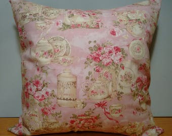 ON SALE NOW Tea for Two - Pink Victorian Floral Throw Pillow Cover