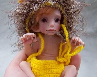 OOAK Lion Elf Elfin Baby by Malga