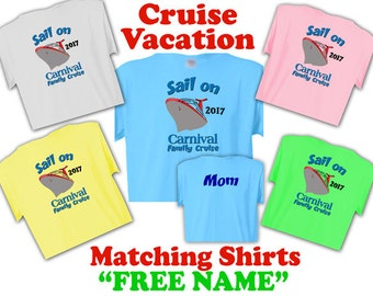 """2017 CARNIVAL CRUISE Matching Family Vacation T-Shirts Fast, """"Free Name"""""""