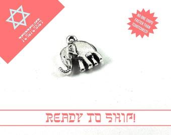 Elephant Charm, Elephant Tag, Elephant Bead, Elephant Pendant, Silver Elephant Charm, Silver Elephant Tag, Silver Elephant, Elephant Charm