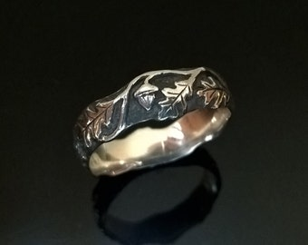 Ring Oak leaves, For women and men, black silver,  Modern