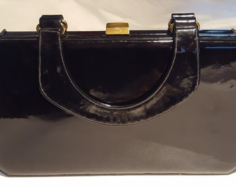 Susan Gail Black Patent Leather Vintage Handbag
