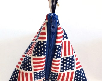 American Flag Triangle Coin Purses, Triangle pouch, Pyramid coin purse, Pacifier case
