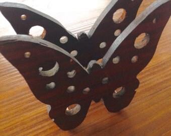 Vintage Butterfly Wooden Napkin Holder Butterfly Decor Kitchen Decor Wooden Napkin Holder