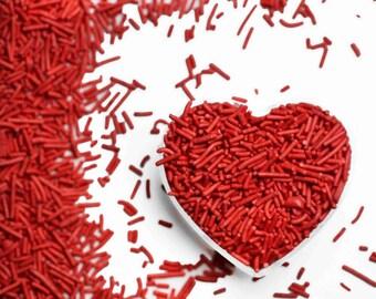 Red Crunchy Jimmies™, crunchy sprinkles, skinny sprinkles, sugar strands, Fancy Sprinkles, red sprinkles, red crunchy jimmies