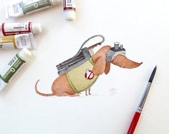 Ghostbusters Dachshund Art Print   Dog Wall Art   8x10 Venkman Illustration   Kid's Room Decor
