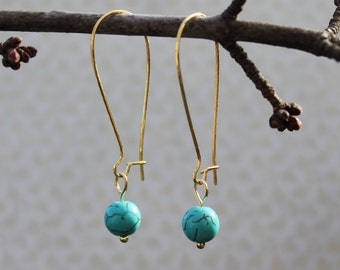 Turquoise and gold earrings, drop earrings, kidney wire, minimalist jewelry
