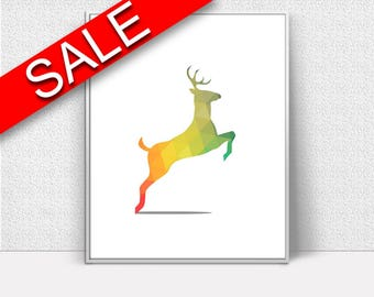 Wall Decor Deer Printable Woodland Prints Deer Sign Woodland Nursery Art Woodland Nursery Print Deer Printable Art Deer TriangleDeer