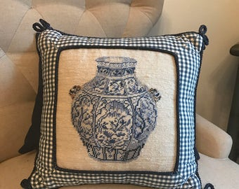 Blue and White Needlepoint Pillow with Chinoiserie Ginger Jar