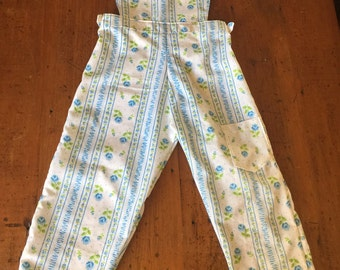 Size 3-4 overalls made from 1960s vintage sheets using a hand drafted 1950s Enid Gilchrist sewing pattern.