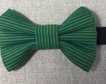 Green striped cotton bow tie, green and black striped bow tie, green cotton bow tie.