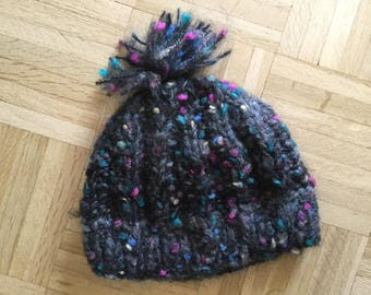 Charming Black Hand-Knit Hat Adult Size