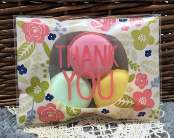 50 pieces/lot 10*13CM Flower Thank you Self-adhesive Plastic Bags For Cookies, Biscuits