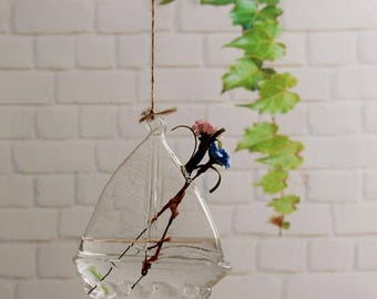 Glass Hanging Vase Terrarium Hydroponic Plant DIY Home Decor