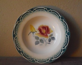 "Sarreguemines Digoin ""Marinette"" French Vintage China 1950's Assiette Creuse Yellow Pink Rose with Artists Signature"