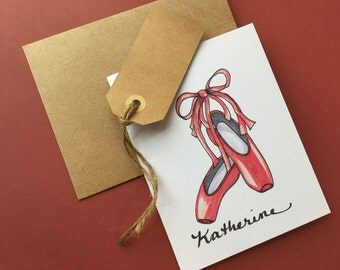 Ballet Slippers note cards, personalized