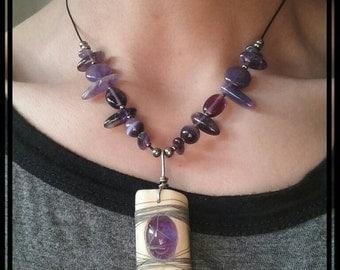 Purple Deer Bone Pendant Necklace