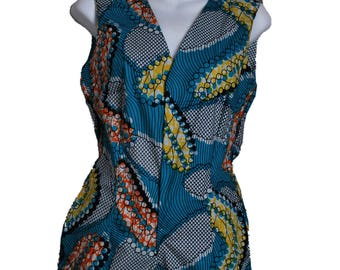 african print romper sleeveless with v-neck and side pockets // african romper // short jumpsuit // shorts // ankara jumpsuit shorts