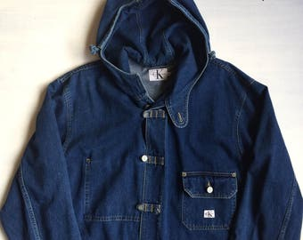 VTG Calvin Klein hooded denim coat size XL