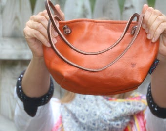 Leather Handbag / Leather Purse / Burnt Orange Purse / Made in the USA / Gift for Her / Limited Edition / Soft Leather