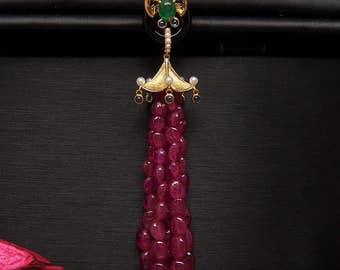 Pavilion 18K Gold Natural Ruby Emerald Pendant tassel