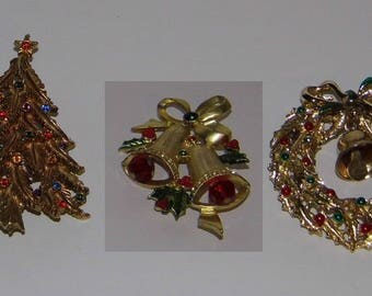 You Choose 3 Vintage Christmas Pins - Holiday Brooch -World Wide Priority Shipping! More in Shoppe!