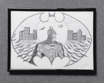 Original Superhero drawing. - Batman or one of your favourites .