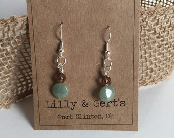 Jade and Copper Toned Glass Beaded Drop Earrings