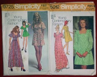 2 Used Vintage 1970's Simplicity Juniors Dress Patterns #'s 9725 & 5012 Sz 14