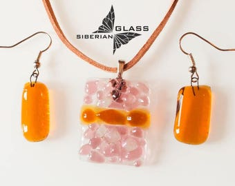 Fused glass jewelry set of earrings and pendant Autumn