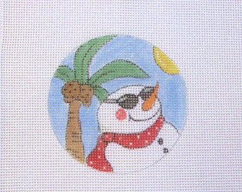 Tropical Snowman on the Beach  Handpainted Needlepoint Canvas