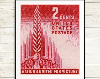 vintage united nations posters, ww2 posters, ww2 memorabilia, united nations wall art, world war 2 posters, US postage stamp art prints