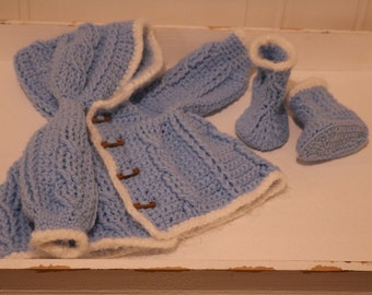 Hooded Baby Crochet Cardigan in Blue with Booties for 0 to 3 months old.