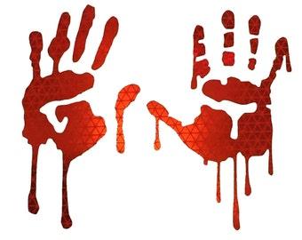 Bloody zombie hand print sticker 7X9 walking dead Halloween car window decal