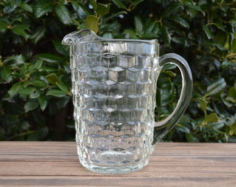 Whitehall Pitcher in Clear Glass by Colony, Vintage Glass Pitcher, Stacked Cube Design, Pitcher, Clear Glass Pitcher, Whitehall, Barware