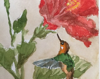 Watercolor of beautiful hummingbirf and hibiscus flower.