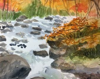 Colorful stream watercolor