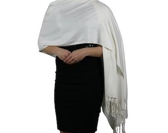Cream Ladies Pashmina Scarf Wrap Shawl - Tassel Finishing - Handmade