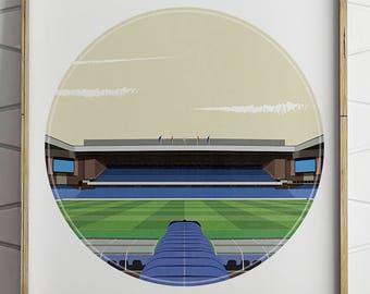Rangers fc, Ibrox Illustrated Print, Football Art, for Men, Soccer Art, Football Print, Football Gifts, Glasgow Rangers, Football Posters