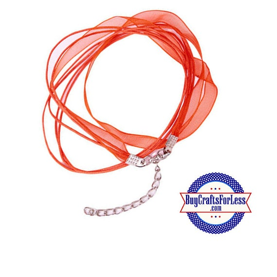 Ribbon CORD necklace, RED **FREE Shipping with orders 10 dollars+**